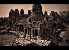 Just another pile of rubble (sadaiche (Peter Franc)) Tags: travel film sepia temple asia cambodia khmer buddhist buddhism angkor hindu bayon angkorthom jayavarman theravada