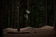 magic forest (sky histoire) Tags: trees light england sun bike sport speed forest canon cycling woods sam magic extreme fast dirt massive whip jumper bi
