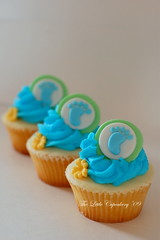 Baby Footprint Cupcakes (Klaire with a Cake) Tags: blue boy baby shower cupcakes babies little footprint tlc fondant cupcakery xirj klairescupcakes