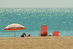 Holidays (ole) Tags: blue sea summer mer france beach umbrella vacances sand europe sable parasol mditerrane transat fitou leucate explored