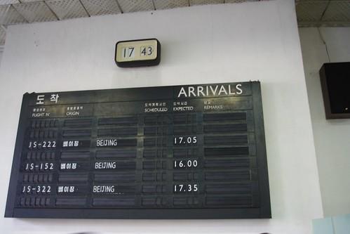 Pyongyang airport arrivals board.