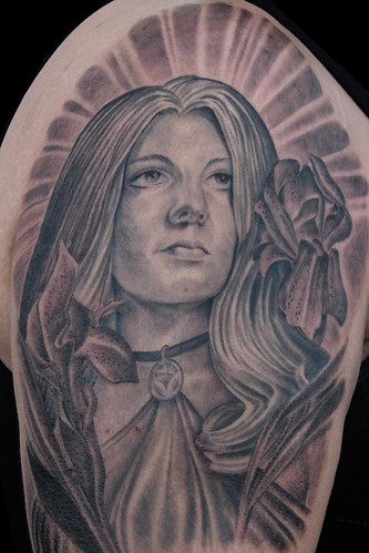 Portrait of clients mother tattooed by Terry Ribera at Avalon Tattoo II in