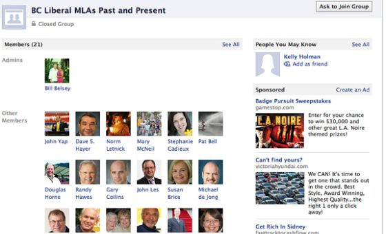 Liberal MLA Facebook group created