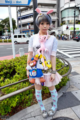 Cute Japanese Girl, Cute Accessories (tokyofashion) Tags: street pink cute rabbit bunny girl japan hair tokyo makeup style skirt purse harajuku kawaii shorthair bunnyears streetfashion kneehighsocks kurebayashi
