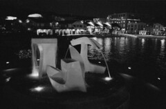 One night at the lagoon (sapheron) Tags: sculpture film water night iso3200 waterfront delta lagoon wellington 3200 ilford nikonfm2 albatross homedeveloped