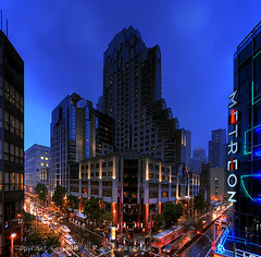 marriott hotel, san francisco (louie imaging) Tags: sf street city light usa streets wet rain architecture modern night clouds america marriott dawn hotel town san francisco downtown neon cityscape dusk contemporary sony down rainy metreon sonymetreon downtownstreets contemporarycity aplusphoto colourartaward rainphotography contemporarysanfrancisco modernsanfrancisco moderncityhotel