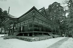 Koya Shrine (sachman75) Tags: winter bw snow japan temple japanese structure holy koyasan hdr mtkoya