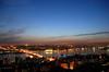 The Glittering Horn (WanderWorks) Tags: city bridge blue sunset colour building water turkey river golden evening istanbul mosque horn galata