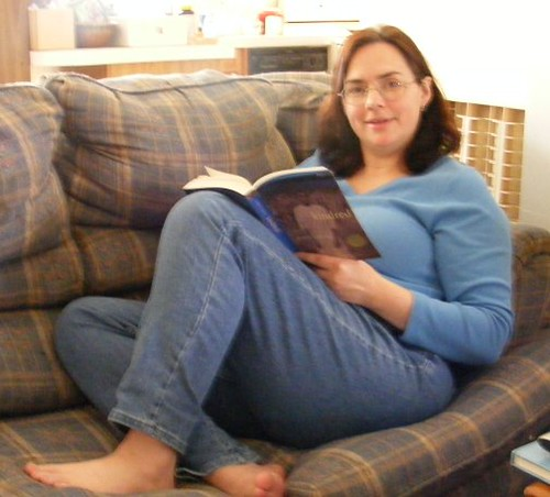 Me sitting on the blue sofa