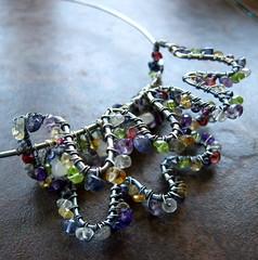 Necklace (meristem) Tags: pink blue wild orange stone butterfly wire purple wrapped funky gem meristem wirejewelry