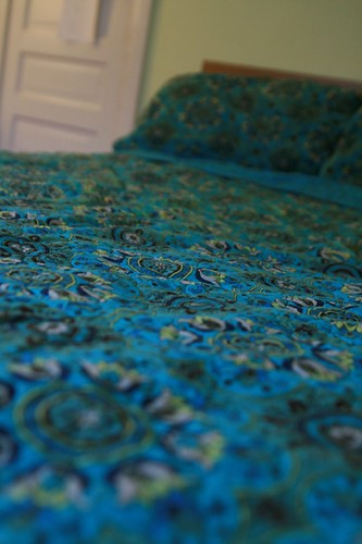 color home bed bedroom colorful quilt room bluegreen patterned newbedding pillowshams