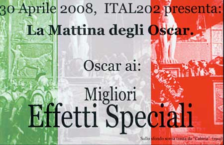 Image of Oscar card for best effetti speciale