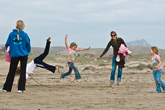 Kids play skiprope on Morro Strand State Beach...
