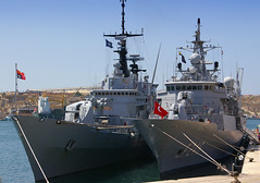 Frigates Salihreis & Euro (albireo2006) Tags: blue sea wallpaper italy marina turkey harbor italian italia marinamilitare ship harbour euro background navy malta mooring frigate turkish warship grandharbour f575 turkishnavy f246 natosnmg2 salihreis