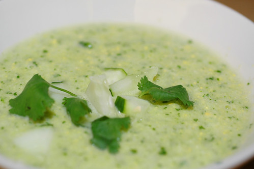 fresh corn and cucumber soup