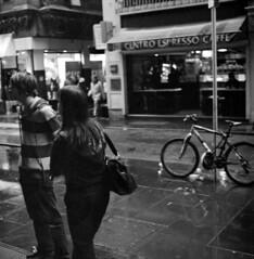 look both ways (ziz) Tags: street rain australia melbourne victoria xp2 ilford 400iso flinderslane centreplace c41 thequarter hasselblad500c centroespresso