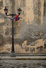 : pilipinas (audiOscience!) Tags: road street old texture church lamp wall asia post symbol decay flag philippines peach lamppost manila filipino southeast minimalism intramuros luzon pader sanagustin flickrexplore nikond80 audioscience sangoyo christianlucassangoyo