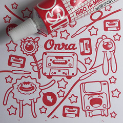 ChombaTapes 1st Gocco Test Print (Stick-A-Thing_____S_____ A_____T) Tags: urban cute art monster collage illustration print happy design experimental graphic sweet character yo gocco doodle kawaii jabba sat tapes vector ilustracion personagem ilustracao onra chomba stickathing designink