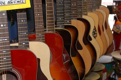 Acoustic guitars at Scituate Music Company near the harborfront