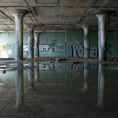 dunk (paulhitz) Tags: usa reflection water puddle graffiti otis michigan detroit reflected kahn reflect fisher dunk fisherbody fisherbody21 detroitgraffiti paulhitz porab fbsk