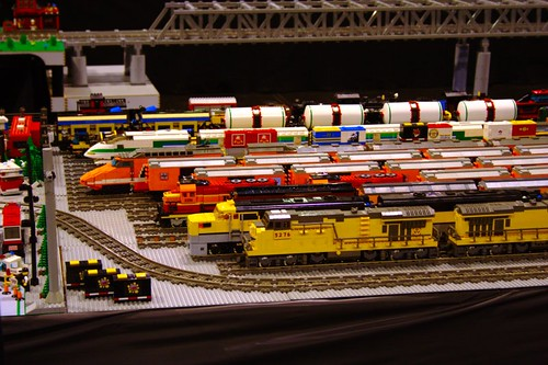 Lined up Lego trains