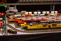 Lined up Lego trains (slambo_42) Tags: railroad yard model lego trains