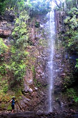 Laura at the Waterfall at Waimea River (*jbird*) Tags: woman water hawaii waterfall kauai waimeariver