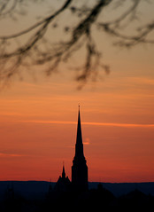 Plze (Katka S.) Tags: city light sunset red sky sun black west tower church silhouette clouds town branch republic czech cathedral symbol pilsen bohemia sv kraj plze bartolomj plzesk