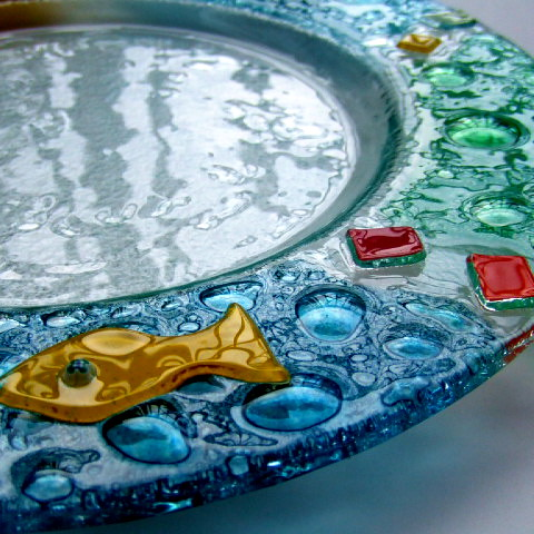 Colorful Fused Glass Dish