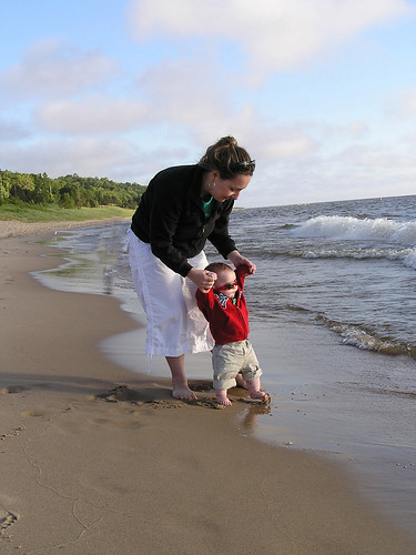 Playing at Lake Michigan