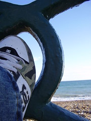 Shoe, railing, and sea (the_dan) Tags: blue sea sky beach brighton camo railing dcshoes