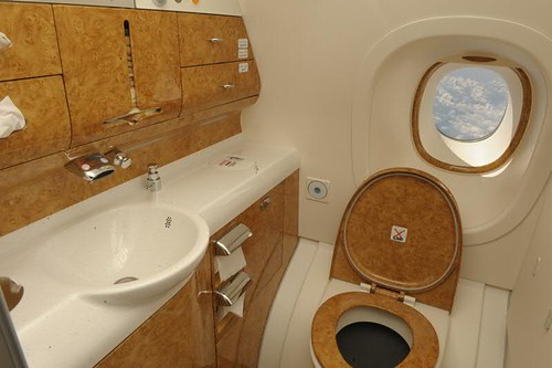 Toilets with A View... On board First Emirates Airlines A380