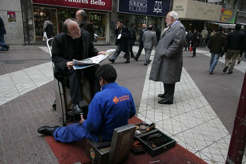 Shoeshine man in Santiago, Chile.