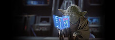 Yoda reads the very same book I downloaded for free thanks to an unexpected Unca George's courtesy