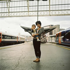 waterloo (bobby stokes) Tags: uk england london 120 film station mediumformat japanese kodak waterloo squareformat analogue 160vc portra nao naoko booboo agfaisolette urbanlife londonist ibuki