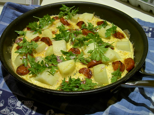 Chorizo and Potato omelette
