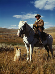 [フリー画像] 人物, 人と風景, 犬・イヌ, 馬・ウマ, アメリカ人, 201007101300