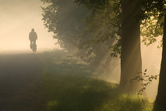 into the light (beeldmark) Tags: mist holland nature netherlands bicycle fog landscape geotagged cycling haze europe utrecht cyclist nederland commute commuting hazy sunrays fietsen nieuwegein fiets   forens zonnestralen ochtendmist zonneharp k10d pentaxk10d ddd2 tamronaf18250mmf3563diiildasphericalifmacro tamron18250 dedoka beeldmark fietsverkeer filevrijedag lpbicycles dolledokadonderdag naarjewerkopdefiets geo:lat=52060908 geo:lon=5087445 intothesummerlight
