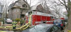 120908 Camb Lexington St Fire Pan 1 Fix (Namlhots) Tags: 120908 lexington street cambridge ma fire firefighters firehose hose ladder trucks firetr firetruck december 2008 lexingtonstreet