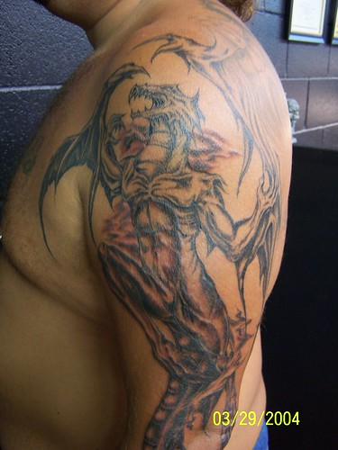 Dragon Tattoo Half Sleeve. Half Sleeve Tattoo Evil Dragon