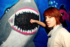 Sharks are enemies. (JessicaHume.) Tags: girl face graffiti shark fight intense nikon pretty d70 expression teeth lee harris punch kortney