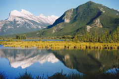 Banff: lake view (Studyjunkie) Tags: friends lake canada mountains reflection film 35mm 35mmfilm alberta scanned banff 1994 reflexions vermilion bestofthebest vermillionlake reflectioninwater canoneos600 colorphotoaward theperfectphotographer