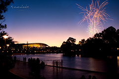 Early Fireworks (Dylan Toh) Tags: park new sunset reflections river fireworks dusk centre year australia explore elder convention adelaide 2009 torrens everlook explored everlookphotography
