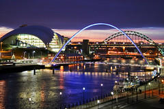 Home. (Ian McWilliams.) Tags: night reflections lights gateshead tynebridge milleniumbridge swingbridge newcastleupontyne quayside sagebuilding rivertyne highlevelbridge