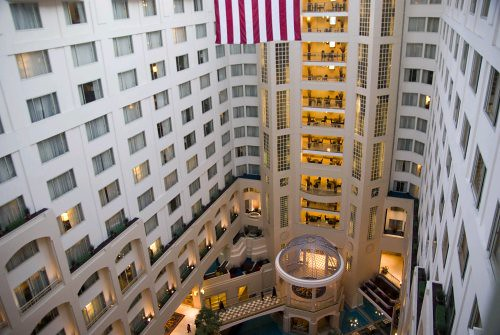 Lobby of the Grand Hyatt in Washington DC; view from 11th Floor
