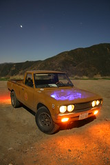 workin' with what's at hand! (Shutter Theory) Tags: longexposure lightpainting nightshot fullmoon nightshots atnight 1973 datsun butterscotch angelesnationalforest slowshutterspeed 620 inthedark castaic nightimage lakehughesroad l20b lakehughes worldcars bulletside pl620