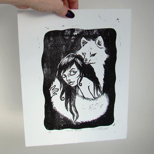 Wild Child Lino print