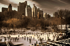 Christmas in the park (stocks photography) Tags: park christmas copyright snow newyork ice america fun frozen skyscrapers centralpark manhattan skating stocks laughter hdr skates lightroom wollmanrink tiffen photomatix skatingonice stocksphotography michaelmarsh canon5dmk11