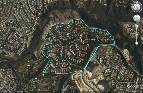 a subdivision in Irvine (boundary by me; satellite image from Google Earth)