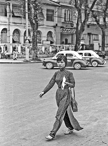 Ao Dai On Saigon Street in 1968 by Lance & Cromwell
